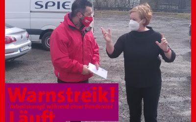 Michaela Engelmeier beim Warnstreik der IG Metall